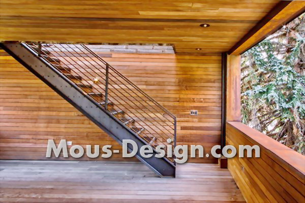 Old stair railing with fashionable stainless steel replaces
